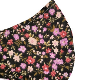 Floral Face Mask Rose Pink Flowers Black Fall Dust Mask Adjustable Facemask Handmade USA