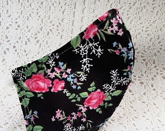 Face Mask - Rose Pink Flowers Floral on Black - Fall - Winter - Cotton - Adjustable Fitted Facemask - Adult Women Handmade USA