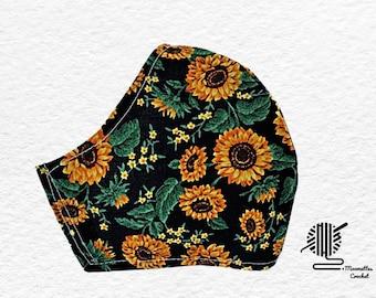 Fall Sunflower Fabric Mask Autumn Yellow Orange on Black Dust Mask Washable Adjustable Cotton Facemask Handmade USA