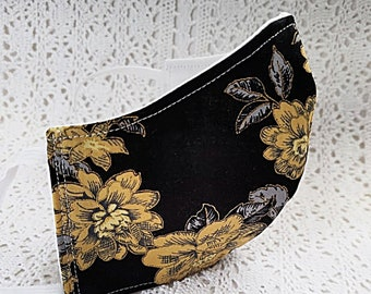Black Floral Face Mask for Fall Autumn Gold Flowers Metallic Shiny Cotton Fitted Adjustable Facemask Handmade USA