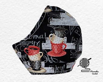 Coffee Cups Face Mask Black Red House Blend Coffee Lovers Dust Mask Adjustable Fitted Facemask Handmade USA
