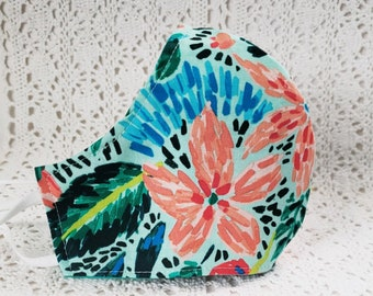 Lily Floral Face Mask Tropical Flowers Print Aqua Dust Mask Adjustable Fitted Facemask Handmade USA