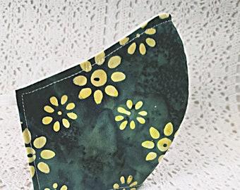 Jade Green Floral Face Mask Batik Cotton Yellow Flowers Dust Mask Adjustable Fitted Lightweight Facemask Handmade USA