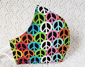 Peace Symbols Face Mask Bright Multi Color Funky Retro Peace Sign Cotton Dust Mask Fitted Adjustable Facemask Handmade USA