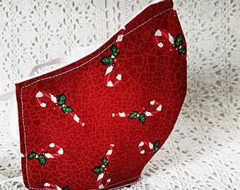 Candy Cane Face Mask - Red Green Christmas Facemask - New Year Holiday Winter Colors Cotton - Adjustable - Fitted Dust  Mask Handmade USA