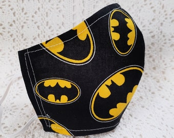 Kids Batman Face Mask Yellow Black Cotton Batman Signal Adjustable Fitted Super Hero Facemask - Unisex - Child - Handmade in USA