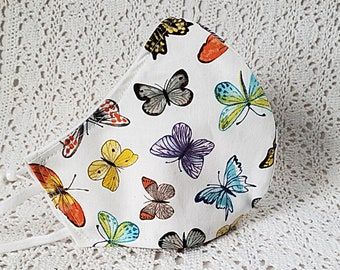 Butterflies Face Mask Butterfly Multi Pastels Fitted Adjustable Facemask Handmade USA