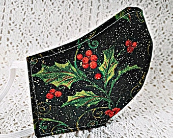 Elegant Christmas Face Mask Red Holly Berries Green Black Gold Metallic Sparkle Winter Mask Cotton Adjustable Fitted Facemask Handmade USA
