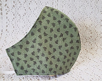 Scandinavian Pine Tree Face Mask Folk Art Green Trees Nordic Country Primitive Woodlands Cotton Adjustable Fitted Dust Mask Handmade USA