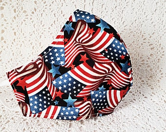 Patriotic Flag Face Mask American Flag Stars Stripes Old Glory Red White Blue Adjustable Fitted Facemask Handmade USA