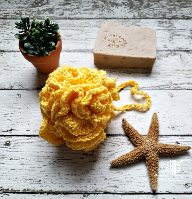 Yellow Bath Loofah Crochet Shower Puff Cotton Bath And Body image 0