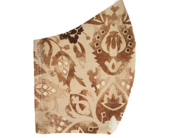 Fall Paisley Face Mask Beige Cream Brown Dust Mask Cotton Adjustable Fitted Facemask Handmade USA