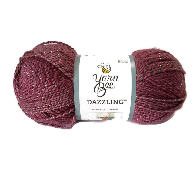 Yarn Bee Dazzling Berry Blush Rose Silver Dye Lot 629153 3.5 image 0