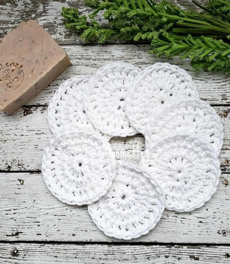 Face Makeup Remover Scrubbies Set of 7 Cotton White Organic image 0