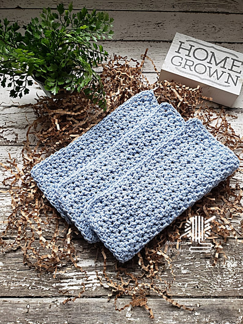 Knit Cotton Dish Cloths 3 Pack Pale Blue Eco Friendly Baby image 0