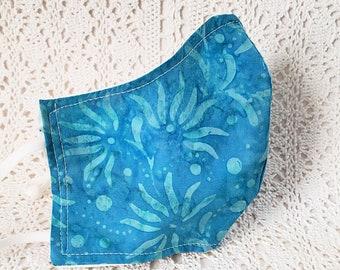 Blue Floral Face Mask Batik Cotton Dust Mask Adjustable Fitted Facemask Handmade in USA