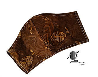 Fall Dark Brown Face Mask Botanical Leaves Face Mask Adjustable Fitted Facemask Handmade USA