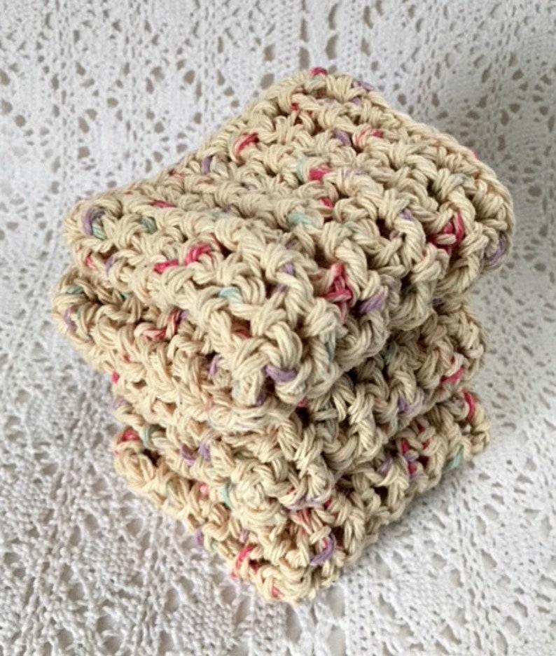 Handmade Dishcloths Organic Cotton Dish Cloths Beige image 0