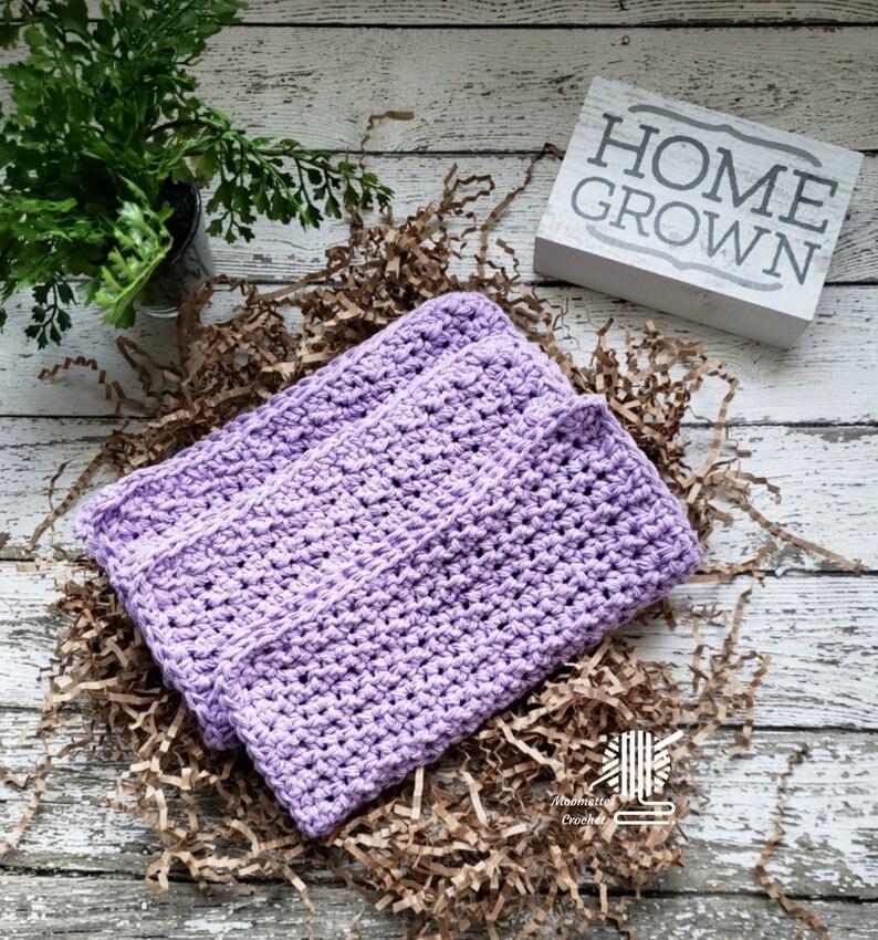 Cotton Dish Cloths 3 Pack Lilac Purple Lavender  Wash/Dish image 0