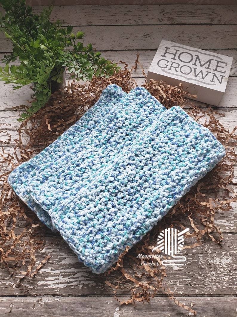 Cotton Dish Cloths 3 Pack Robins Egg Blue Speckle Eco Friendly image 0