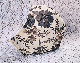 Gray Floral Fall Face Mask Grey Flowers Beige Cotton Dust Mask Adjustable Fitted Facemask Handmade USA
