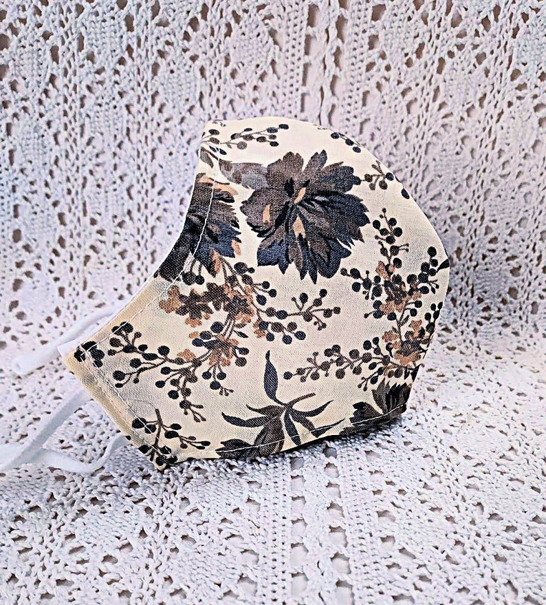 Gray Floral Fall Face Mask Grey Flowers Beige Cotton Dust Mask image 0