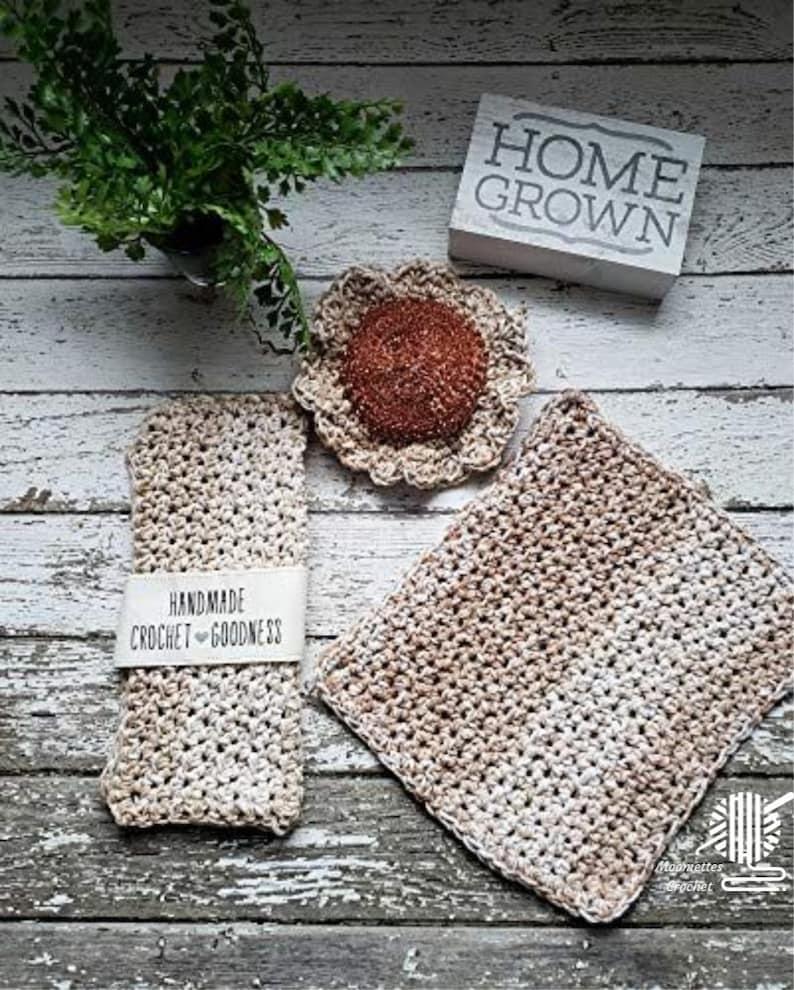 Handmade Dishcloth Dish Cloth Set Kitchen Gift Set Sand Beige image 0