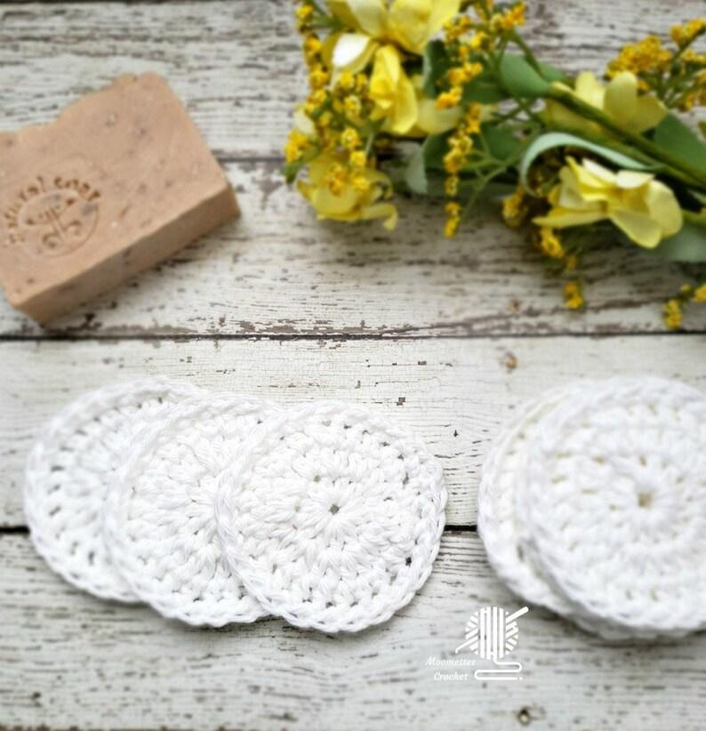 Face Scrubbies Pouf  Bamboo Cotton White  Organic  Facial image 0