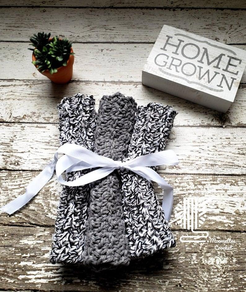 Black White Marl Gray Dishcloths Washcloths Handmade Knit Grey image 0