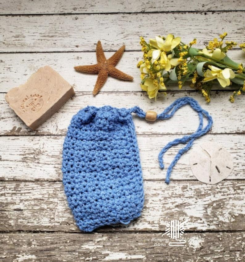 Blue Soap Saver Cotton Bead Drawstring Pouch Crochet Soap Bag image 0