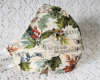 Fall Leaves Face Mask Autumn Blessings Verse Mask Thanksgiving Green Foliage Orange Berries Green Adjustable Fitted Fabric Mask Handmade USA