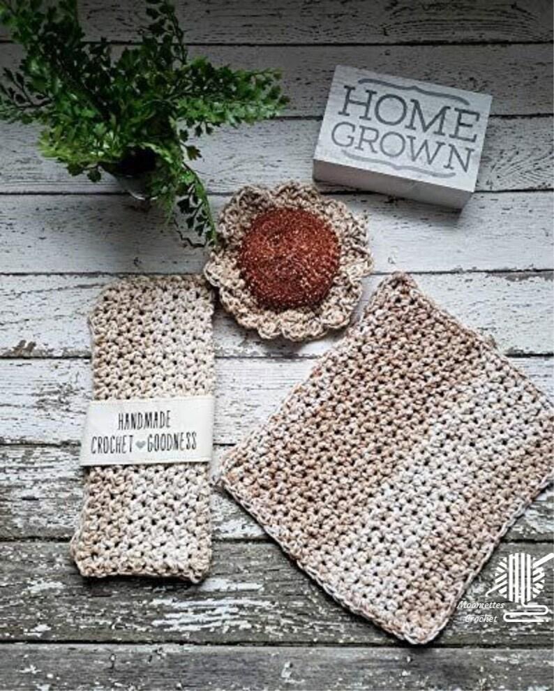 Handmade Dishcloths Cotton Dish Cloths Set Scrubbie Sand Beige image 0