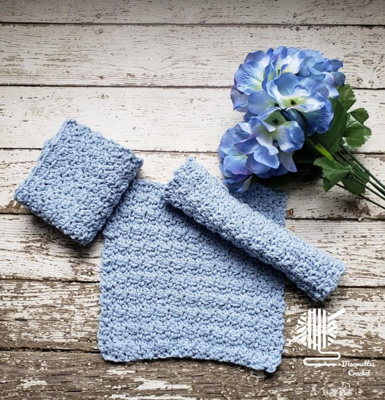 Knit Cotton Dish Cloths 3 Pack Neutral Pale Blue Eco Friendly image 0