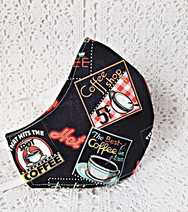 Coffee Face Mask Retro Coffee Shop Coffee Cups Facemask Black image 0