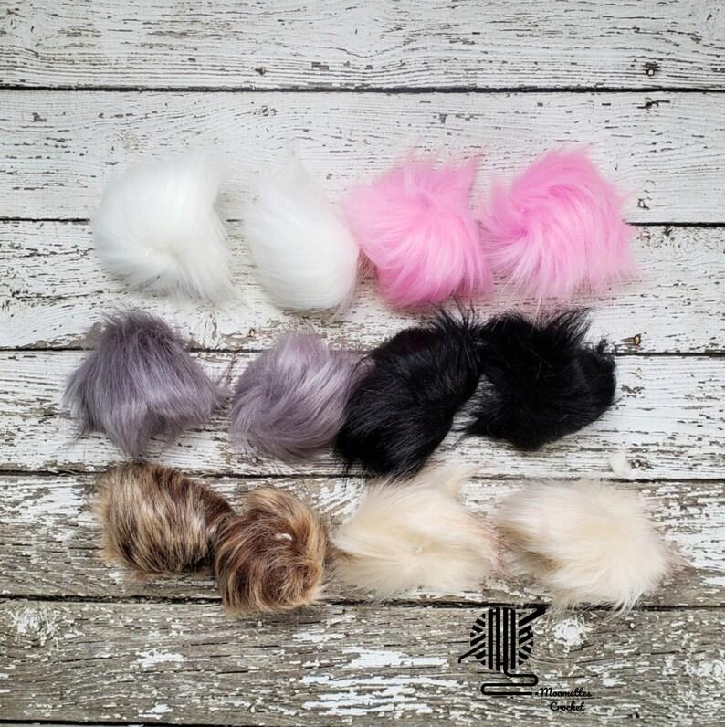 12 Pcs Faux Fur Pom Pom Small Colorful Pink Black White Hat image 0