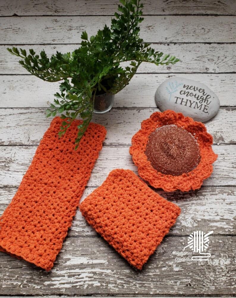Orange Dish Cloths Washcloth Kitchen Scrubber 3 Piece Scrubbie image 0