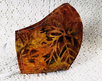 Fall Face Mask - Copper Batik Cotton - Elegant Bronze Autumn Leaves Dust Mask Adjustable Fitted Facemask Women Earthy Tones Handmade in USA