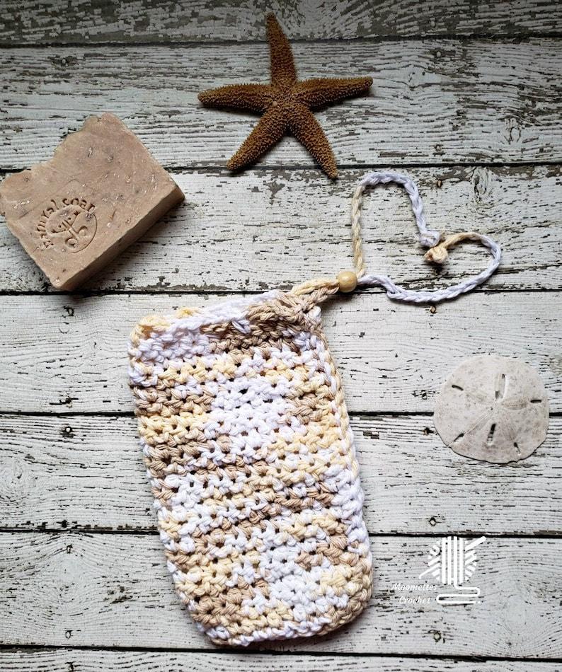 Oak Beige Soap Bag Large Bath Mitt Cotton Bead Drawstring Sack image 0