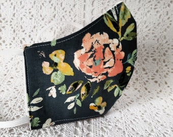 Fall Floral Face Mask Dark Gray Rose Pink Flowers Autumn Leaves Cotton Dust Mask Fitted Adjustable Facemask Handmade USA