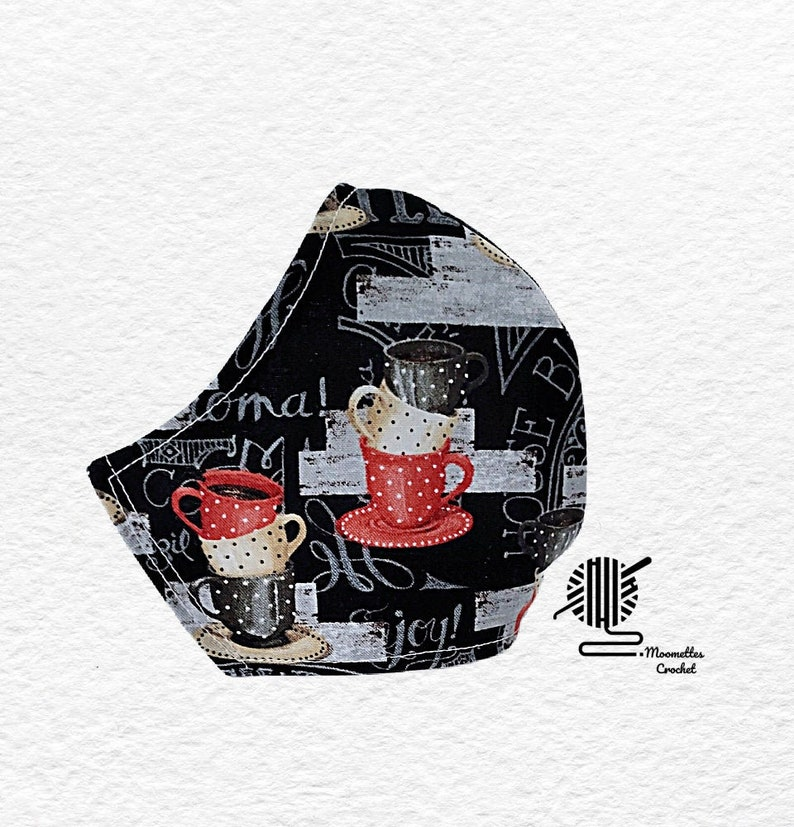 Coffee Cups Face Mask Black Red House Blend Coffee Lovers Dust image 0