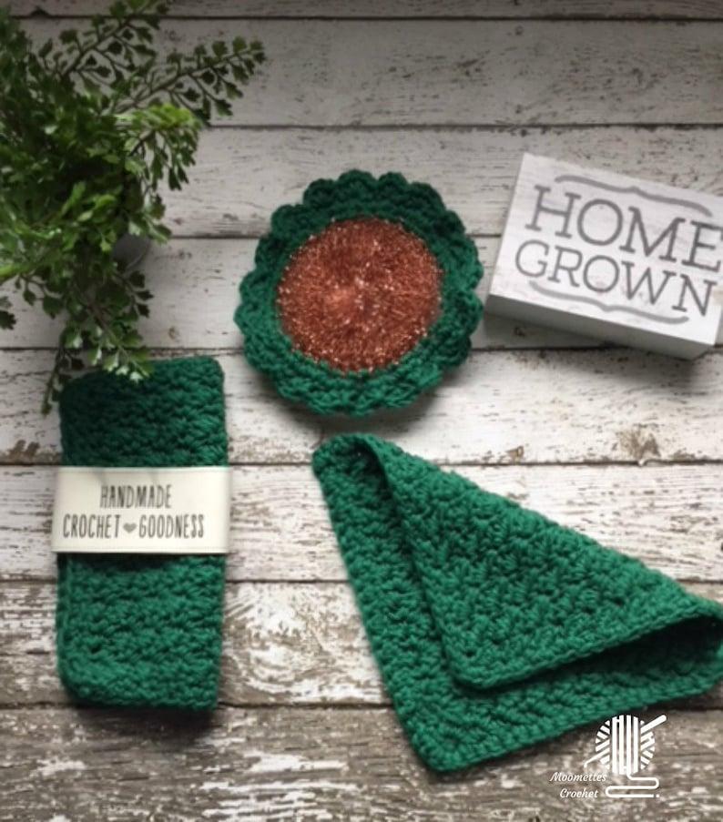 Handmade Cotton Dishcloths Kitchen Dish Cloth Dark Green image 0