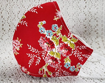Coral Floral Face Mask Yellow Blue Flowers Fitted Adjustable Cotton Dust Mask Facemask Handmade USA