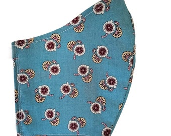 Blue Flowers Fall Face Mask Floral Small Print Cotton Dust Mask Adjustable Fitted Facemask Handmade USA