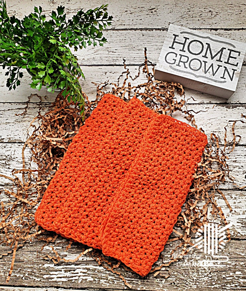 Tangerine Orange Dish Cloths Washcloth Kitchen Dish Rag image 0