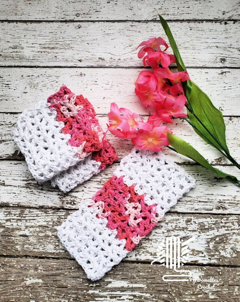 Pink White Dish Cloths Washcloth Kitchen Dish Rag image 0
