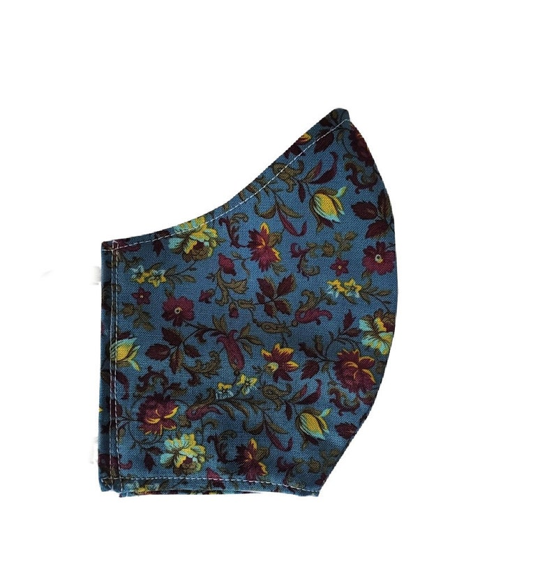 Floral Face Mask Wedgwood Blue Burgundy Flowers Cotton Dust image 0