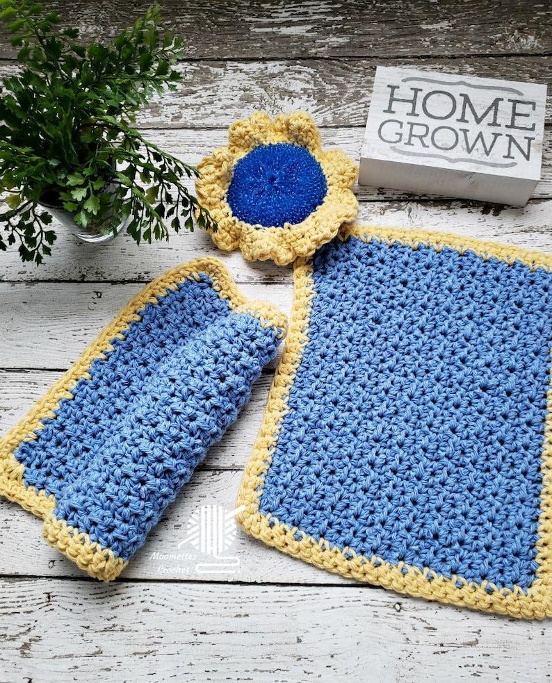 Kitchen Dish Cloths Yellow Blue Cotton Dishcloths 3 Piece image 0
