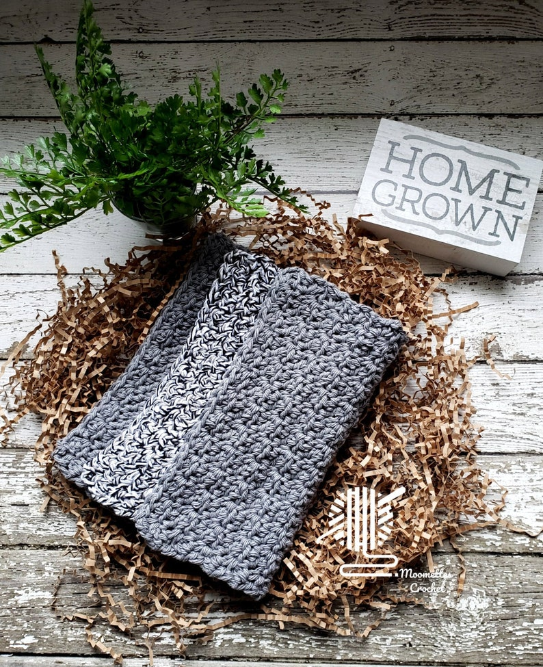 Black White Gray Dishcloths Washcloths Handmade Knit Grey image 0