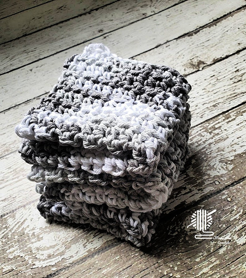 Gray & White Dish Cloth Set  Handmade Crochet Wash Cloths  image 0