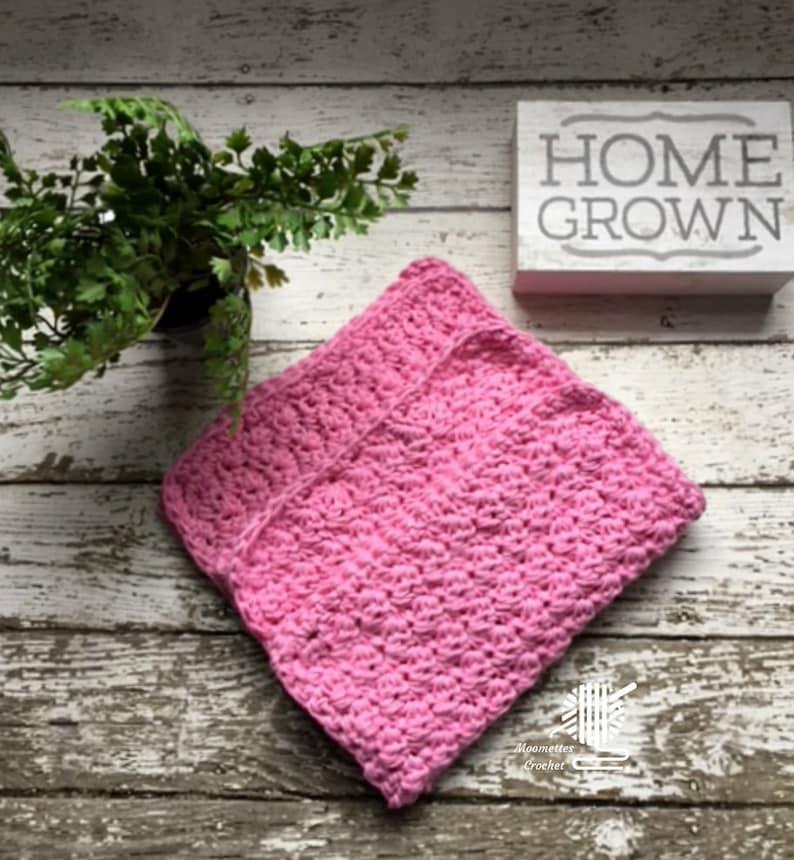 Cotton Dish Cloths 3 Pack Pink Wash/Dish Cloths Eco Friendly image 0